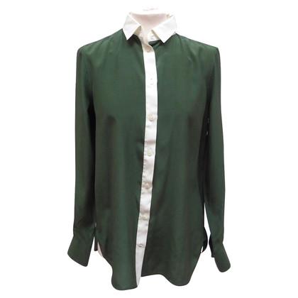 Céline camicetta di seta in verde / bianco