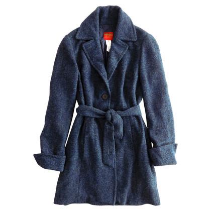 Kenzo Melange blu cappotto con cintura