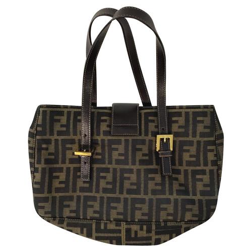 9e6bb854eb49 Fendi Handbag Cotton in Brown - Second Hand Fendi Handbag Cotton in ...