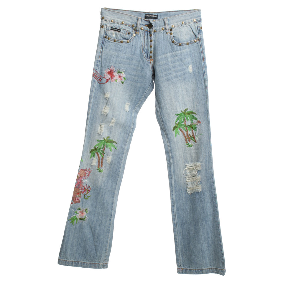dolce gabbana jeans avec broderie acheter dolce gabbana jeans avec broderie second hand d. Black Bedroom Furniture Sets. Home Design Ideas