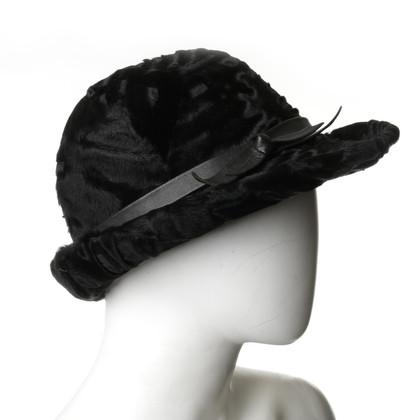 Andere merken Vintage - bont hoed in zwart