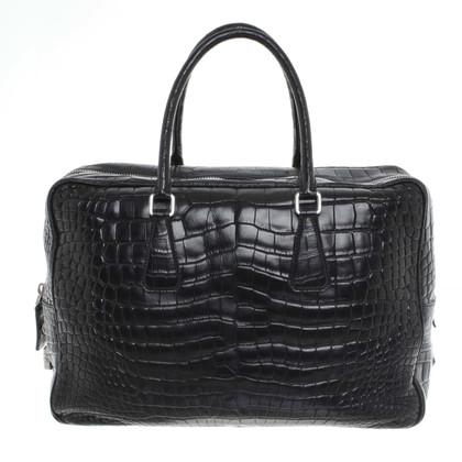 Prada Schwarze Kroko-Leder Tasche