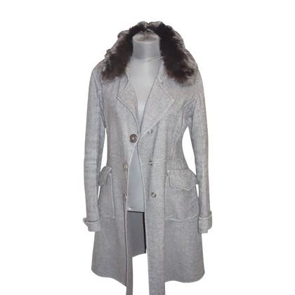 Ermanno Scervino Cappotto in lana con collo in pelliccia