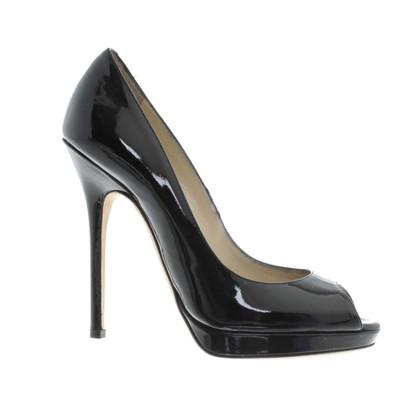 Jimmy Choo Tacco alto peep-dita dei piedi in nero