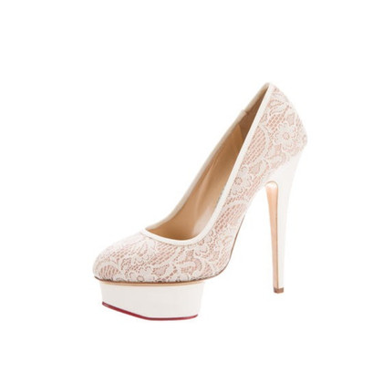 Charlotte Olympia Plateau pumps with lace trim
