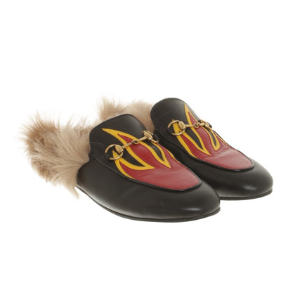 Gucci Fur slipper in black / red