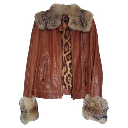 Dolce & Gabbana Leather jacket and Dolce Gabbana fox
