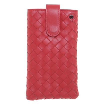Bottega Veneta Red leather cell phone case