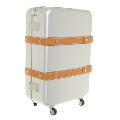 Hermès Hard Case-rolling suitcase with leather belts