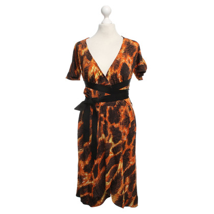 Just Cavalli Wrap Dress in Black / Orange