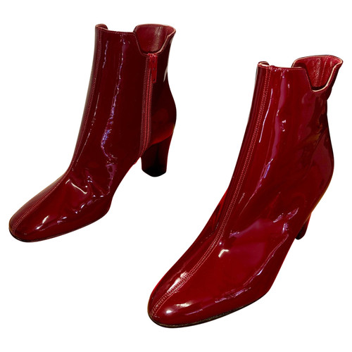huge discount 8ebaa 1ec39 Christian Louboutin Ankle boots Patent leather in Red ...