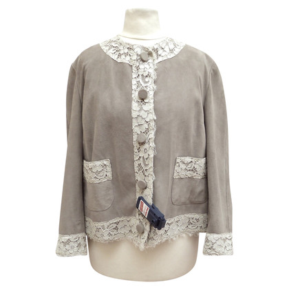 Dolce & Gabbana Leather jacket with lace trim