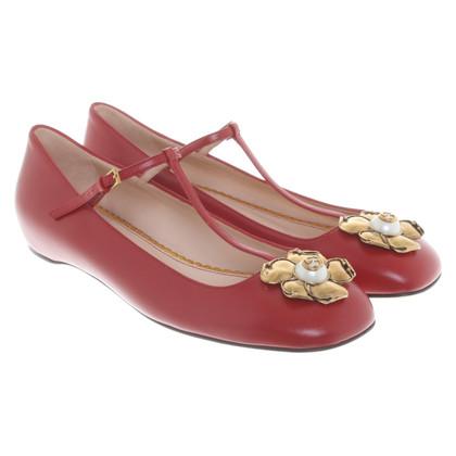 Gucci Leer Ballerina's in rood