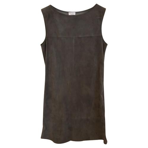 ccce31107efc Brunello Cucinelli Kleid aus Wildleder in Khaki - Second Hand ...