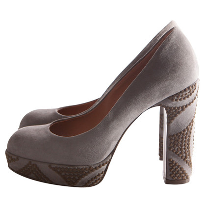 L'autre Chose Suede leather pumps with embroidery