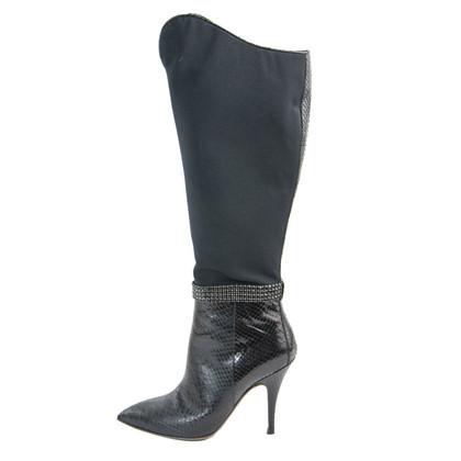 Roberto Cavalli Python and rhinestone boots