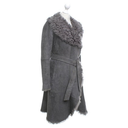 Boss Orange Lambskin coat in grey