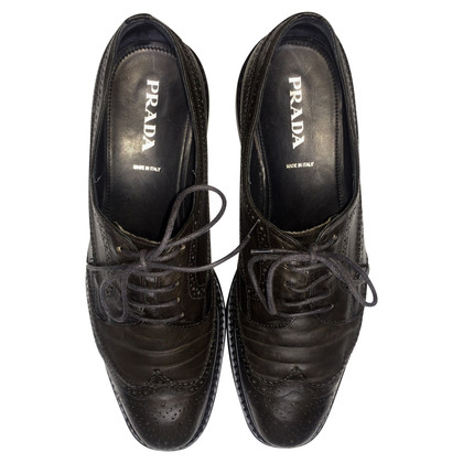 Prada Brushed leather laced derby shoe