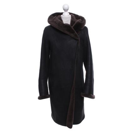 Pauw manteau en cuir avec peau de mouton