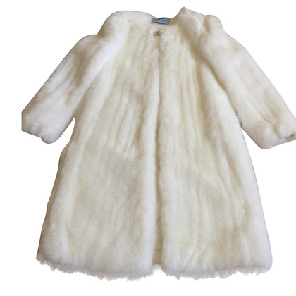 Blumarine faux fur long white coat