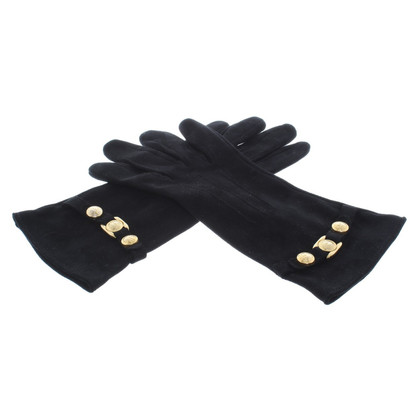 Versace Suede leather gloves in black