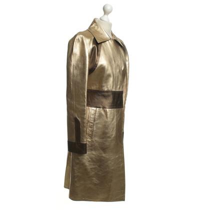 Gucci cappotto di pelle color oro