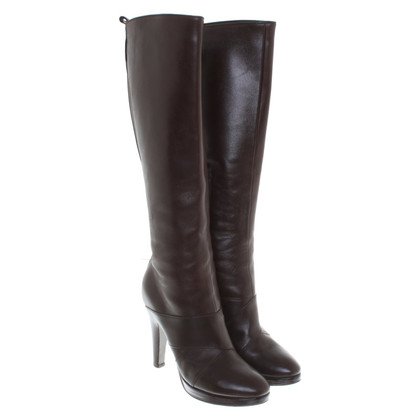 Pollini Leather boots in dark brown