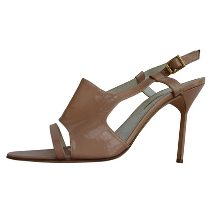 Manolo Blahnik Patent leather sandals in nude