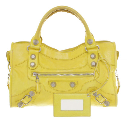 "Balenciaga ""City Bag"" in neon yellow"