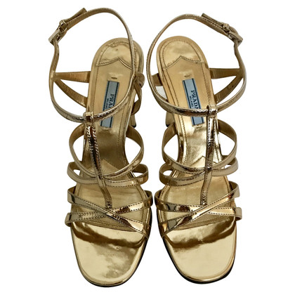 Prada Goldfarbene Sandaletten