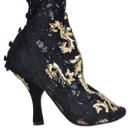 Dolce & Gabbana Baroque gold pumps