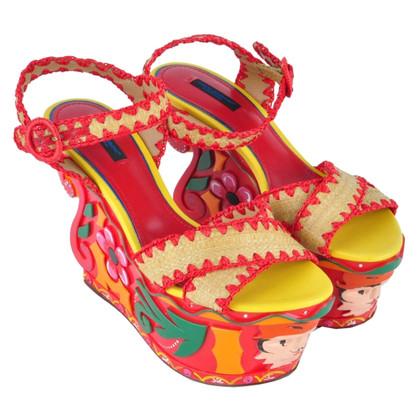 Dolce & Gabbana RUNWAY Platform Sandals Red Brown