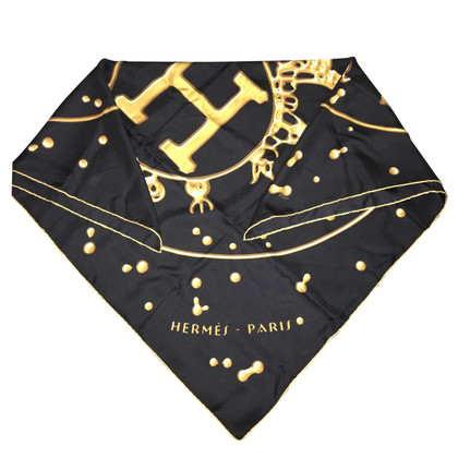 Chanel Seidenschal in Schwarz/Gold