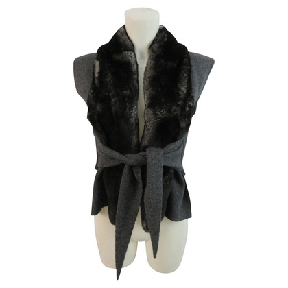 Allude Cardigan with real fur collar