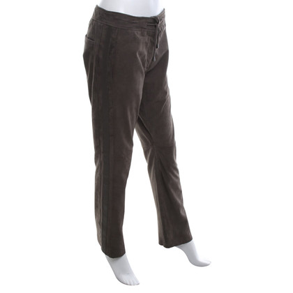 Riani Leather pants in grey-brown