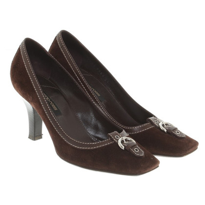 Sergio Rossi Wild leather pumps in brown
