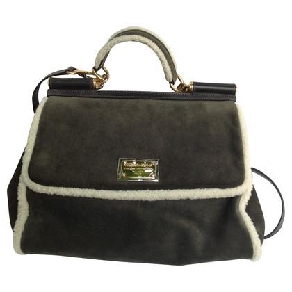 Dolce & Gabbana Wildledertasche mit Schaffell