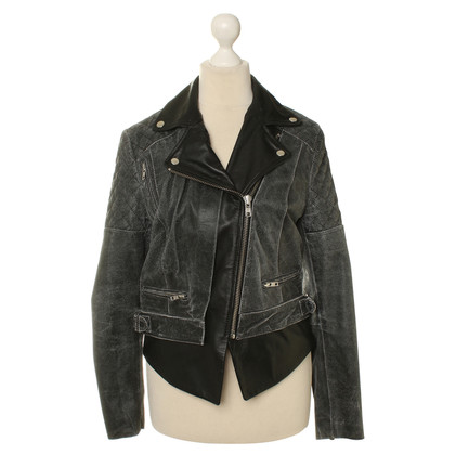 Muubaa Leather jacket in black/grey