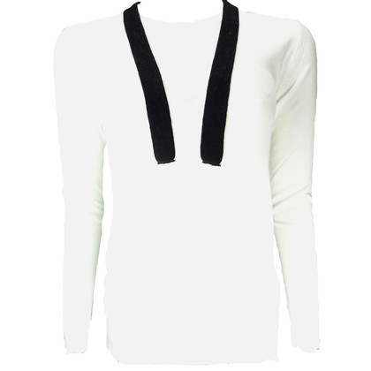 Pierre Balmain White Jersey with black ribbons