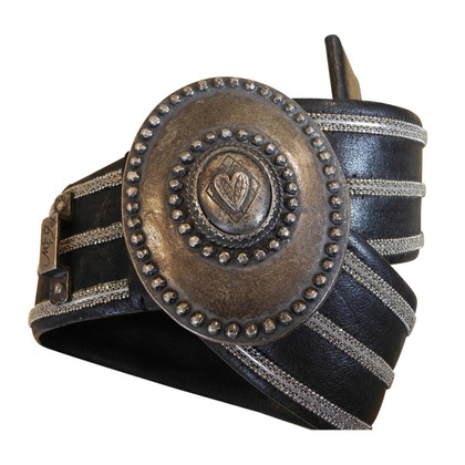 Marithé et Francois Girbaud Leather belt with metal buckle