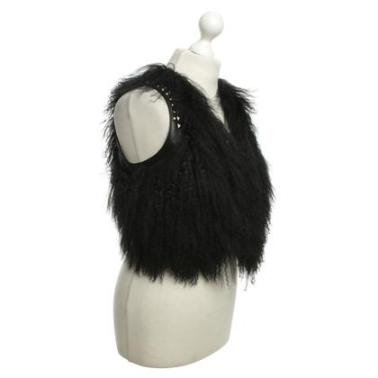 Other Designer Oui - vest with fur trim in black