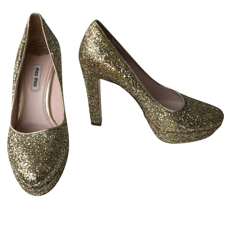 Miu Miu Gold colored High Heels - Buy Second hand Miu Miu Gold ...