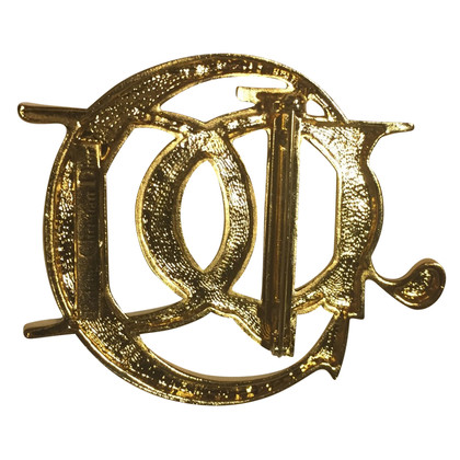 Christian Dior Gold-colored logo brooch