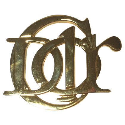 Christian Dior Goldfarbene Logo-Brosche