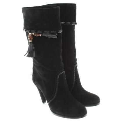 Gucci stivali di camoscio in nero