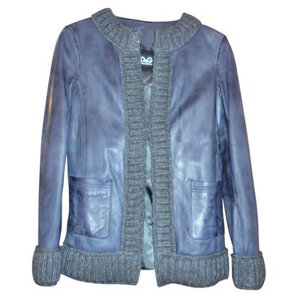 Dolce & Gabbana Giacca in pelle blu