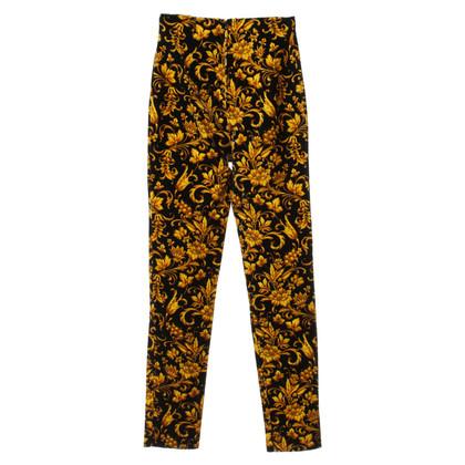 Gianni Versace Velvet pants in black/yellow