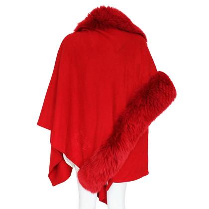 Christian Dior Cashmere cape with fox fur trim