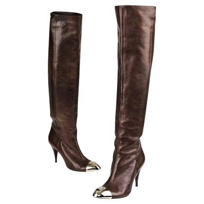 Chanel Brown Knee High Boots