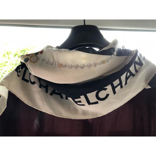 elegante Form Kauf echt neuesten Stil Chanel Schwarzer und weißer Seidenschal - Second Hand Chanel ...